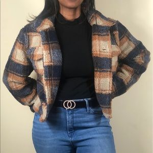 NWT Blue and Brown Plaid Button Up Sherpa Coat